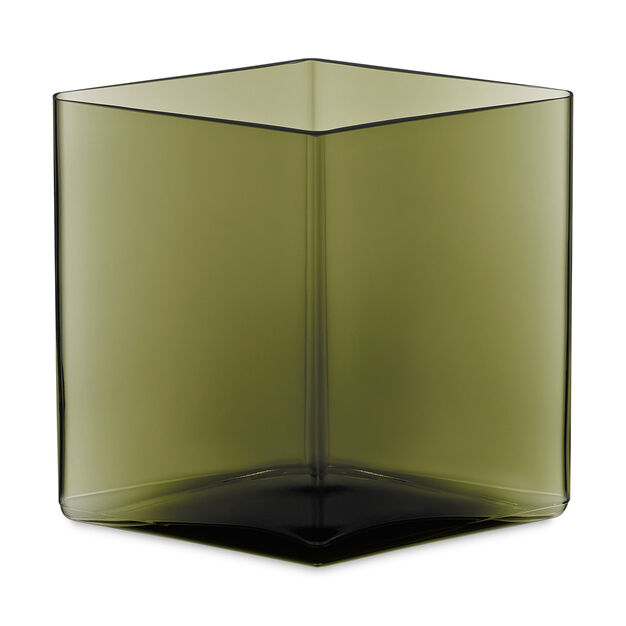 Ruutu Vase Large Moss Green in color Moss Green