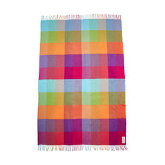 Rainbow Plaid Throw in color