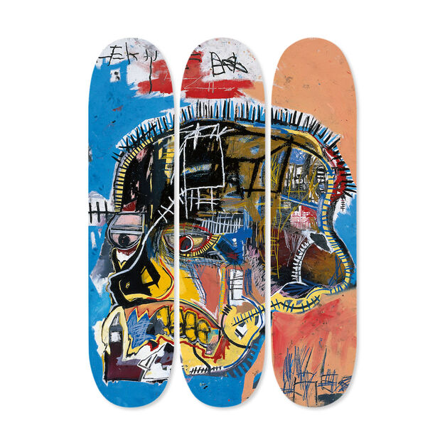 Jean-Michel Basquiat:  Skateboard Triptych Skull in color