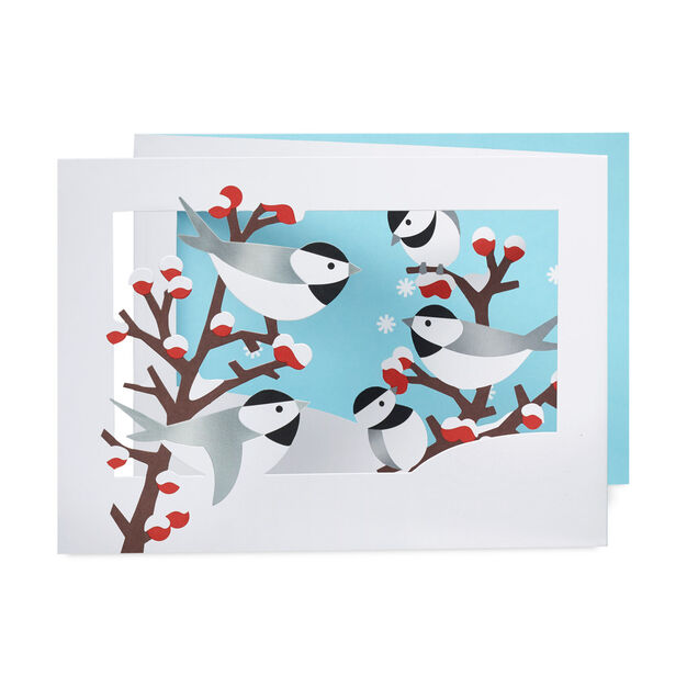 Winter Chickadees Holiday Card in color