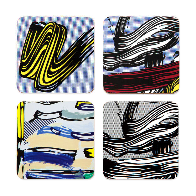 Roy Lichtenstein: Brushstroke Coasters in color