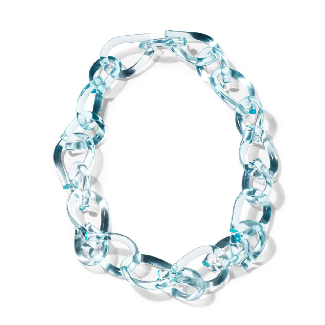 Twist Lucite Necklace in Teal in color