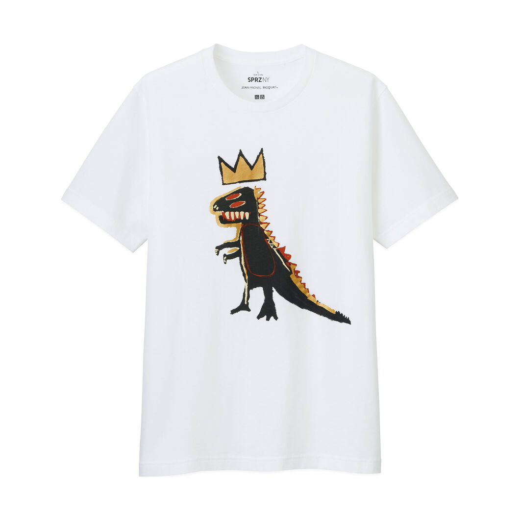 UNIQLO Jean-Michel Basquiat Gold Dinosaur T-Shirt in color White
