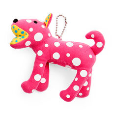 Yayoi Kusama Plush Dog Charm in color Pink