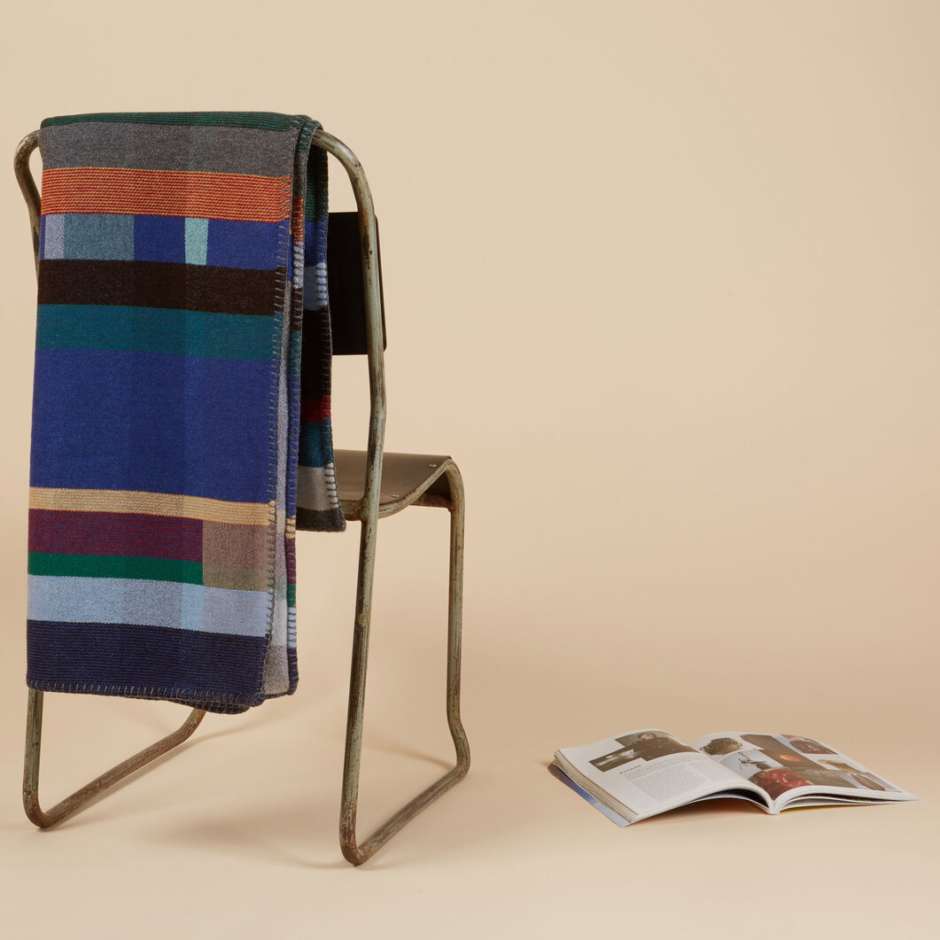 Wallace & Sewell Lambswool Colorblock Throw in color