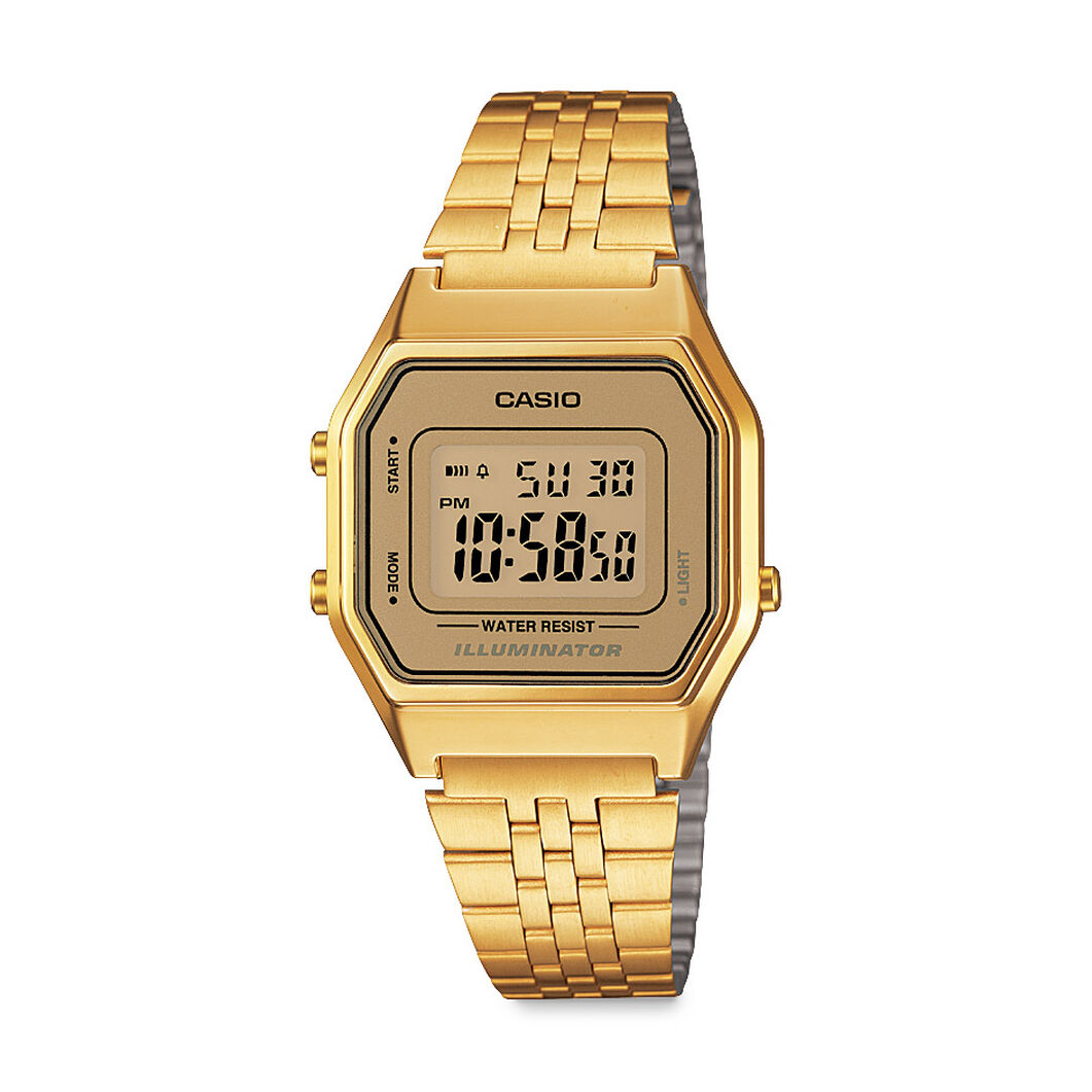 Casio Digital Watch Gold Small in color
