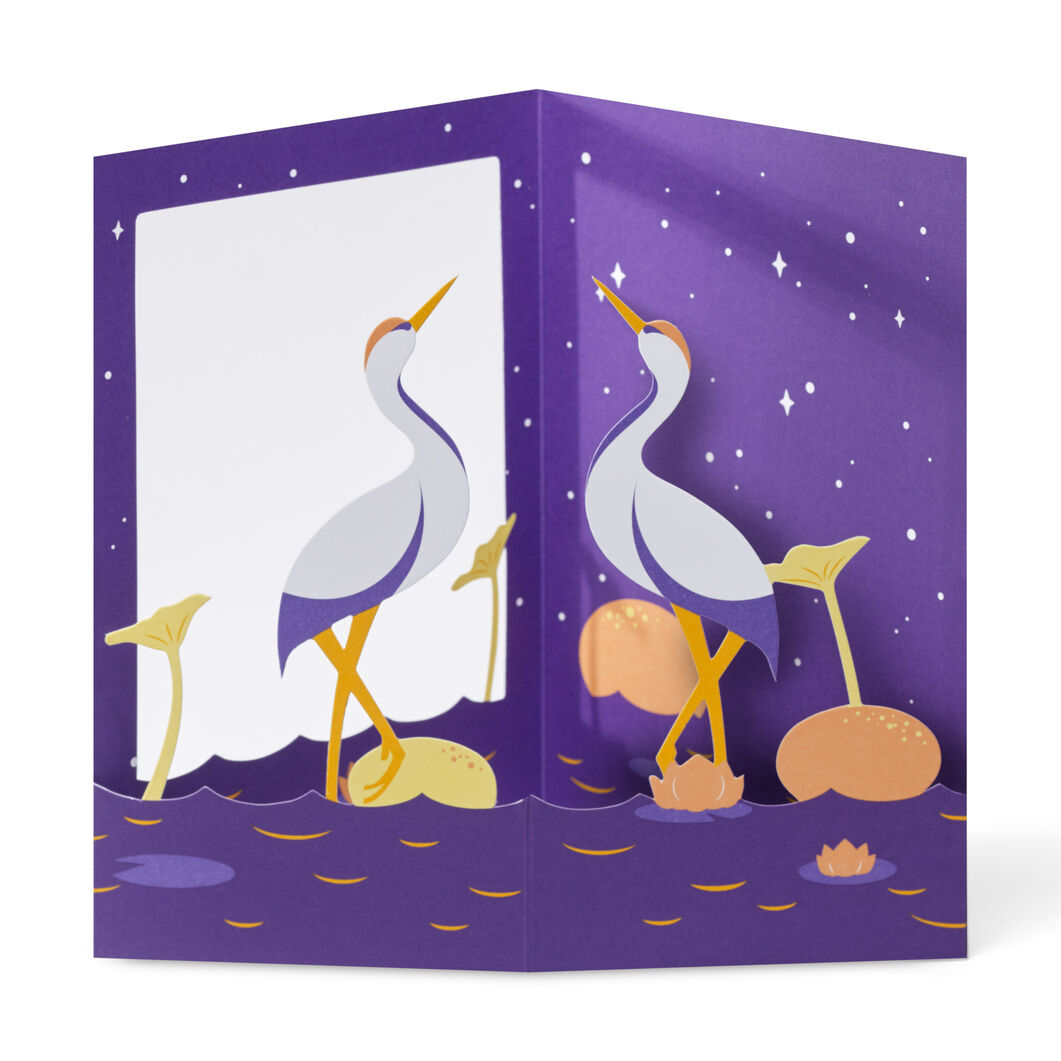 Peaceful Cranes Pop-Up Note Cards - Set of 6 in color