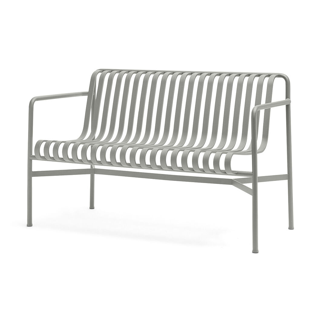HAY Palissade Outdoor Dining Bench in color Sky Grey