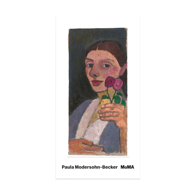 Paul Modersohn-Becker: Self-Portrait with Two Flowers Poster in color