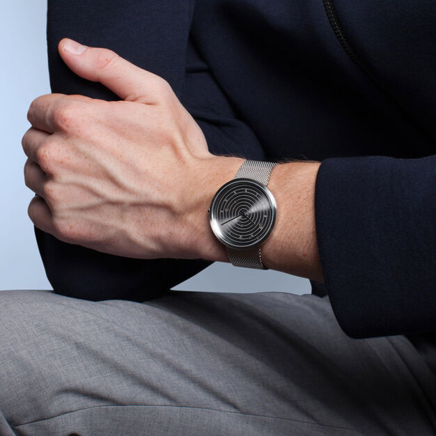 Customizable Ephemeris Watch with Milanese Mesh Strap in color
