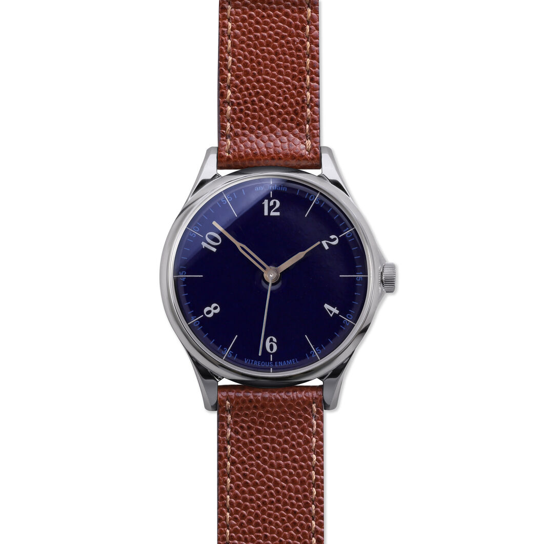 anOrdain Model 1 Watch - Parisian Blue Dial in color Pin Grain