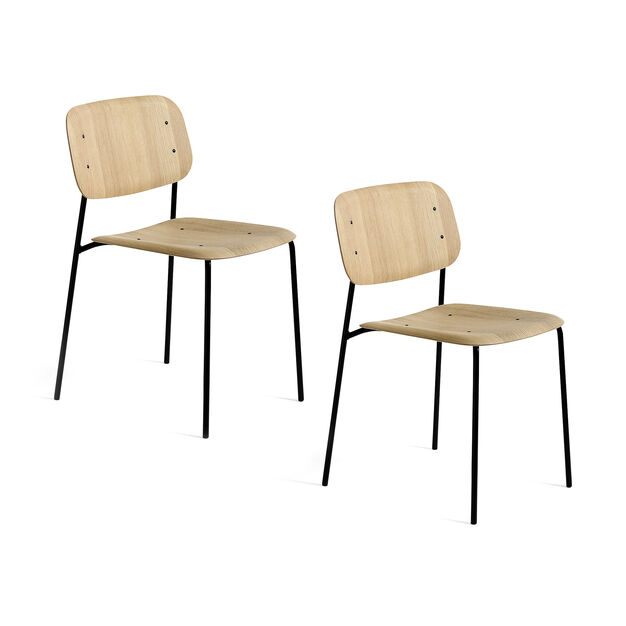 HAY Soft Edge Chair 10 - Set of 2 in color Oak/ Black