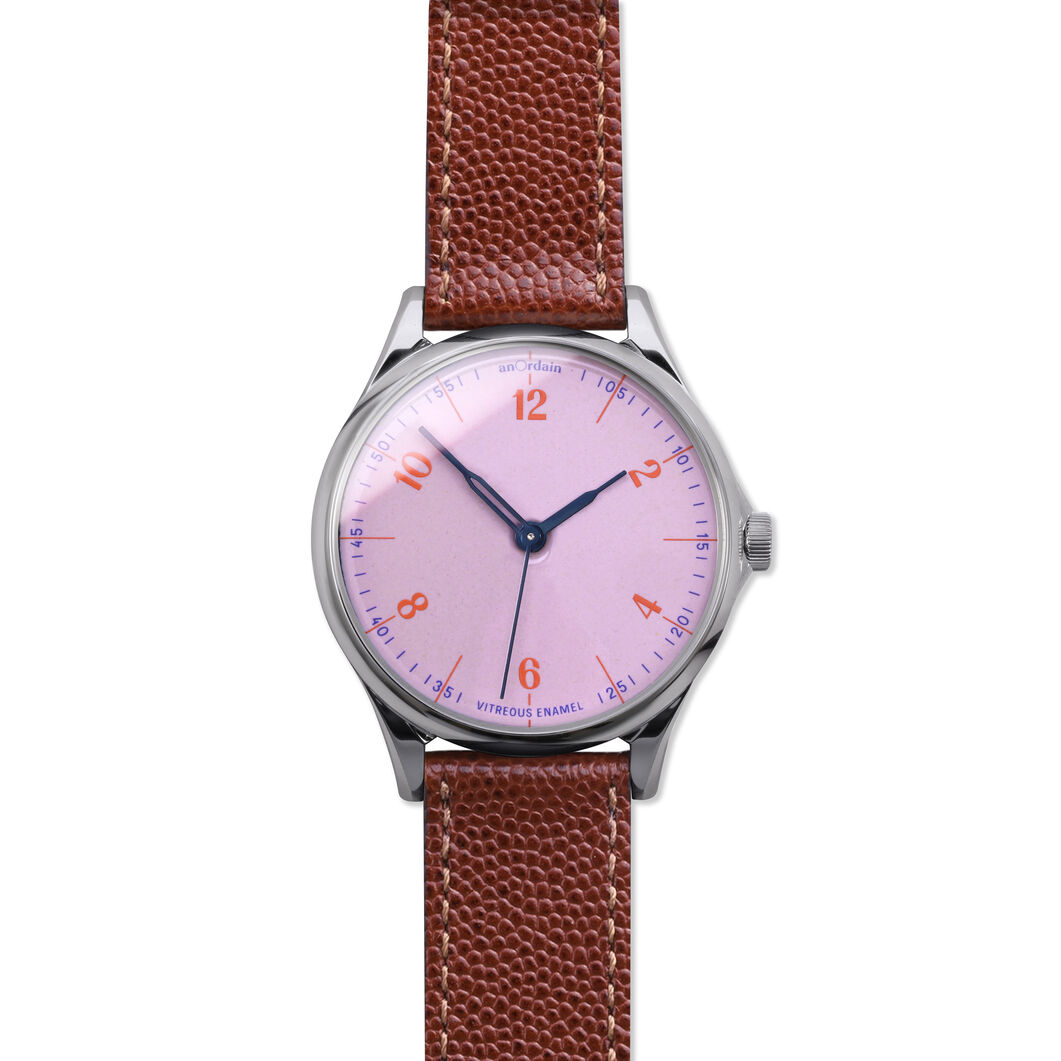 anOrdain Model 1 Watch - Pink Dial in color Pin Grain