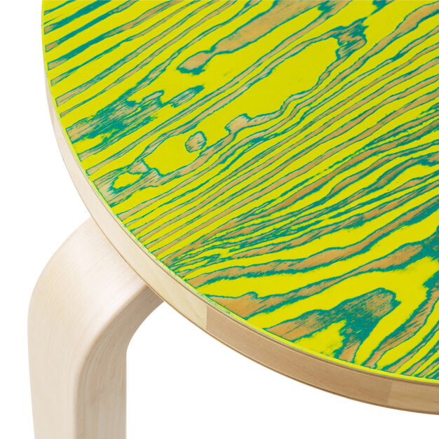 Aalto Three-Legged ColoRing 60 Stacking Stool in color Yellow/ Green