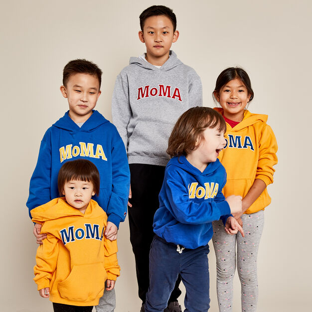 Kids' MoMA Champion Hoodie in color Gray