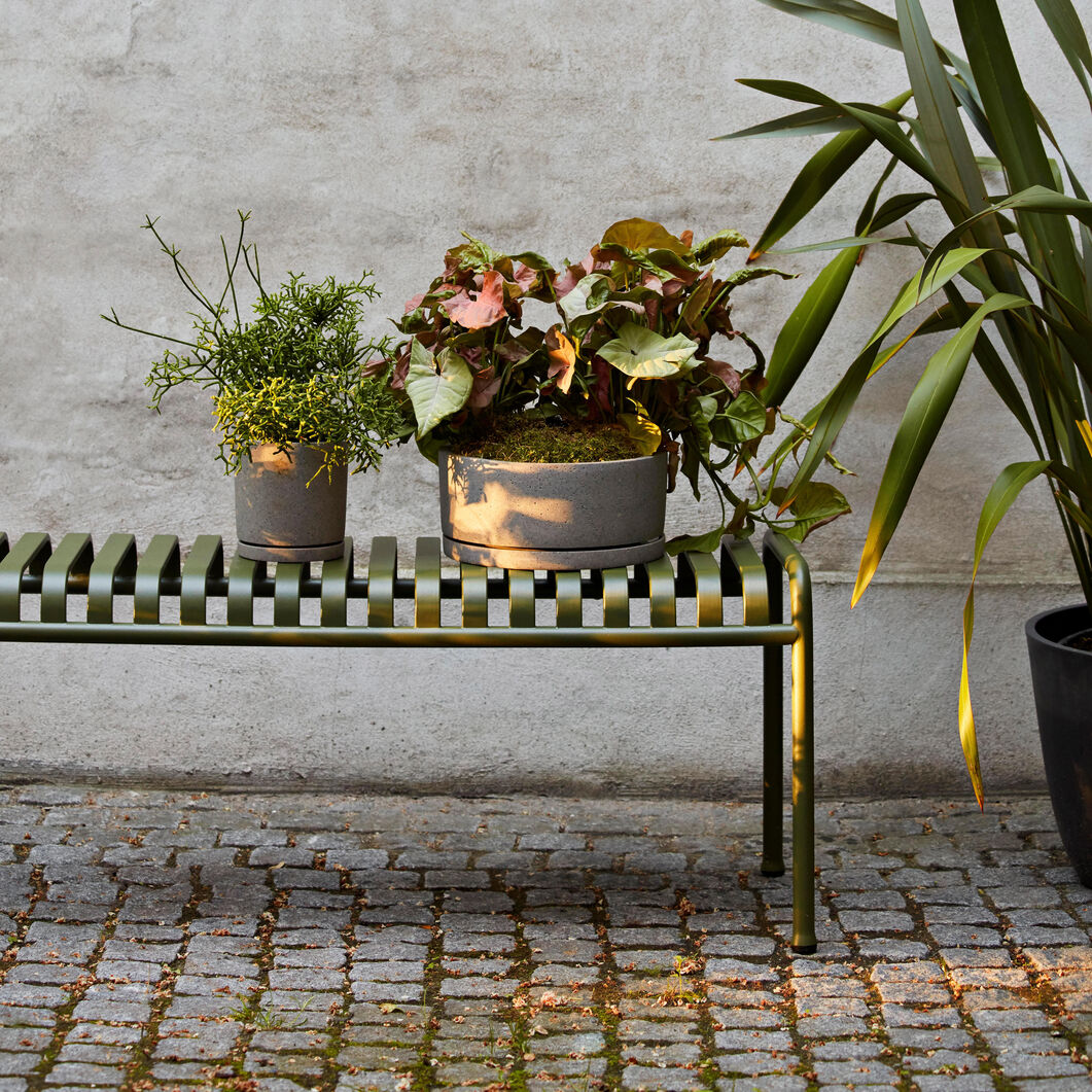 HAY Palissade Outdoor Bench in color Anthracite
