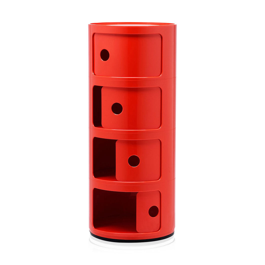 Kartell Componibili 4 Tier Storage in color Red