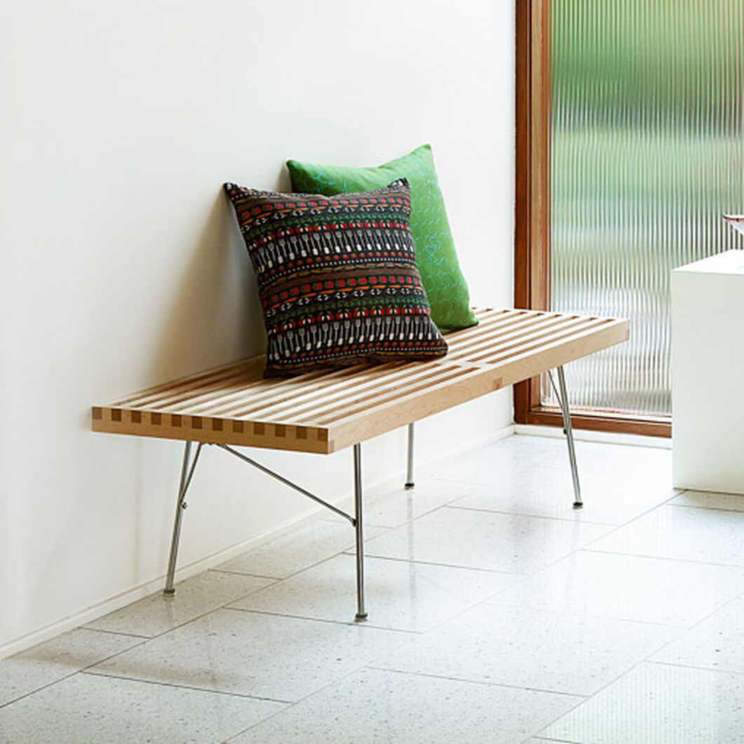 "Nelson™ Slatted Maple Bench - 48""l in color Maple"