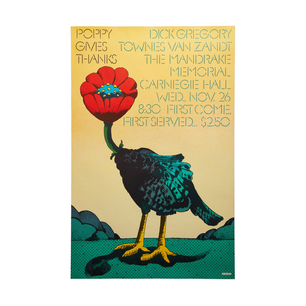 Milton Glaser: Poppy Gives Thanks Poster in color
