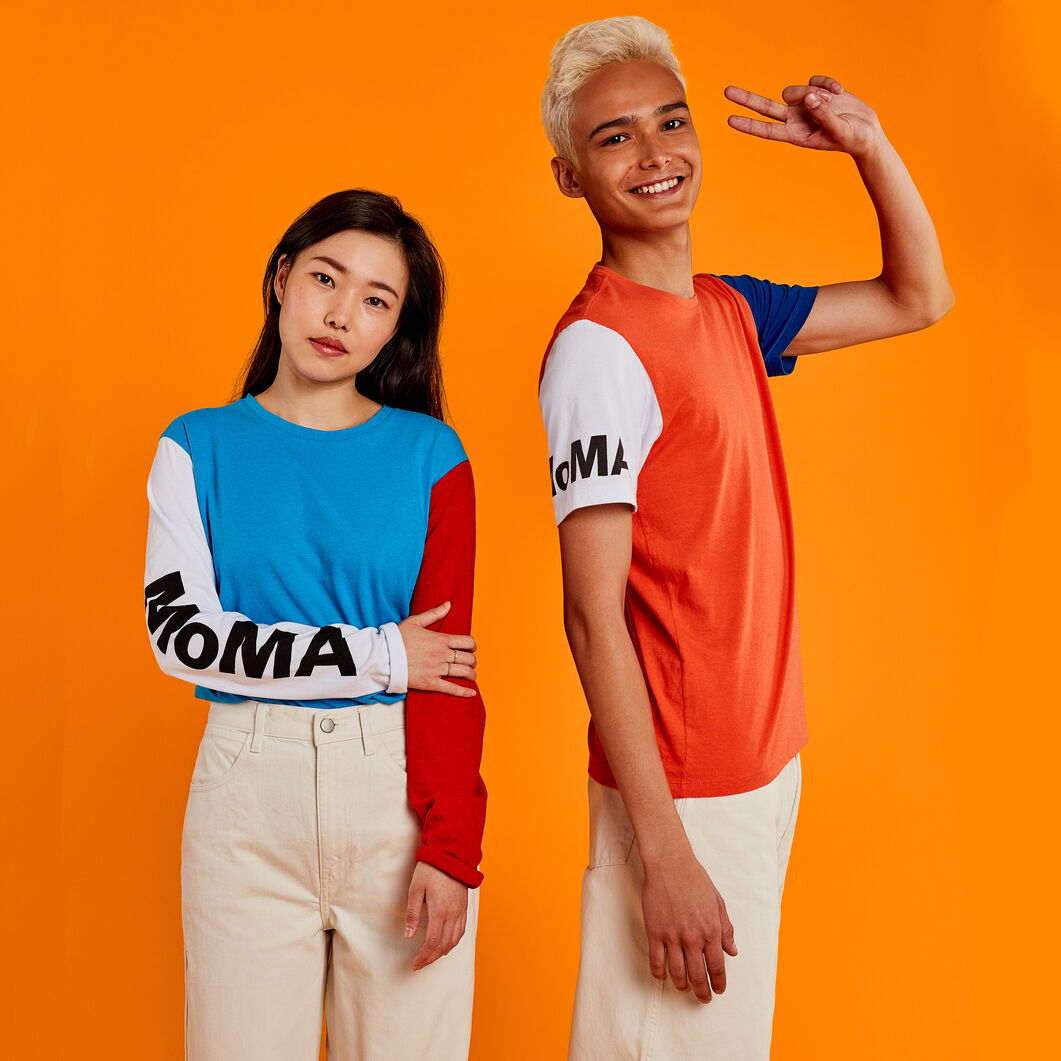 MoMA Logo Long-Sleeve T-Shirt in color Red/ Blue