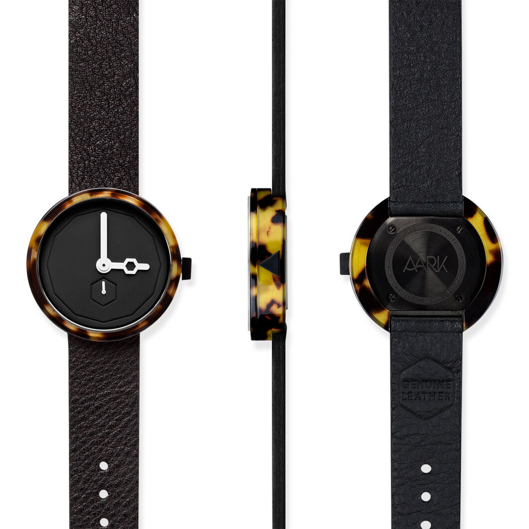 Tortoise Shell Watch Black Face in color Black