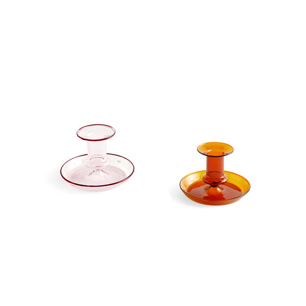 HAY Flare Glass Candle Holder in color Pink