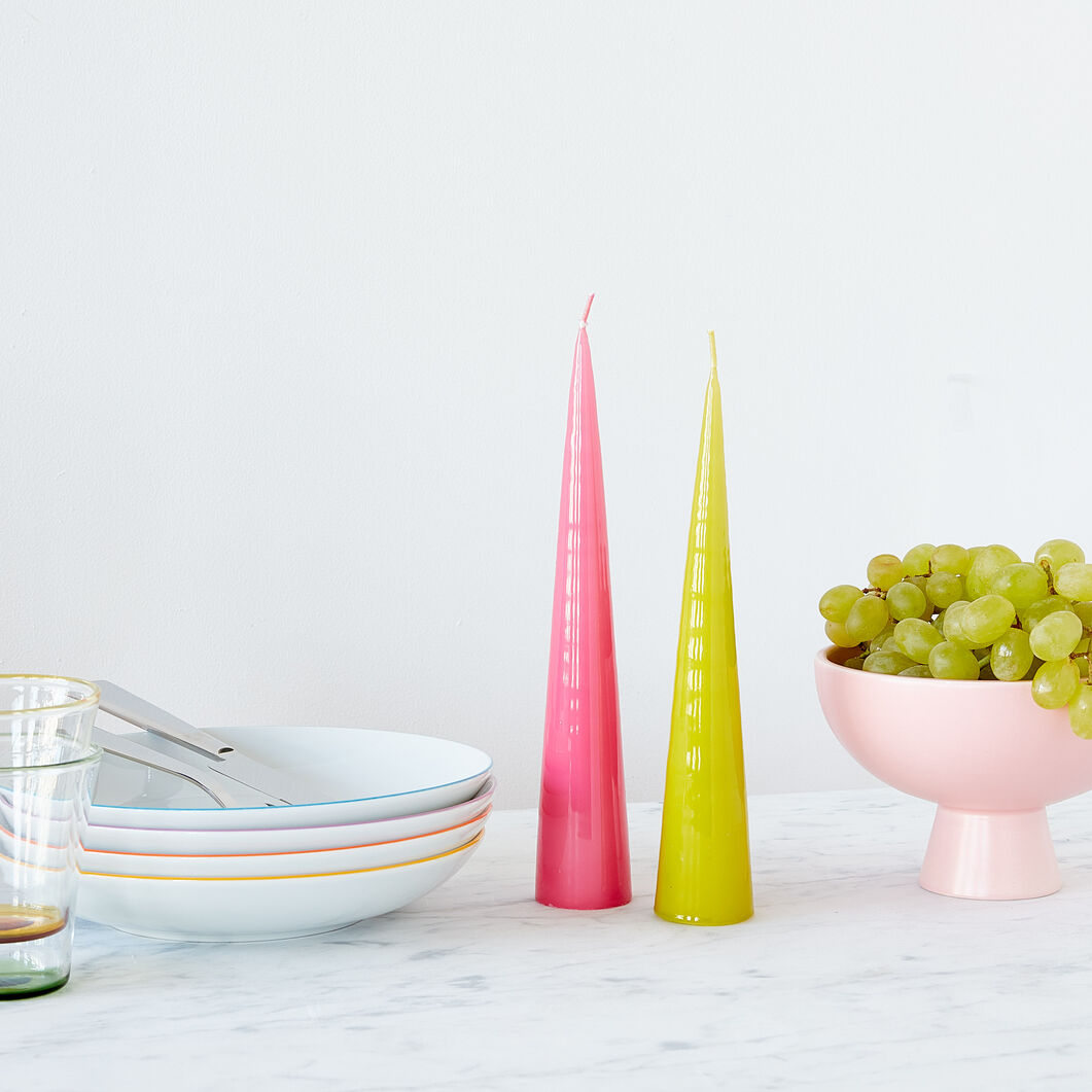 Cone Candles - Set of 2 in color Chartreuse/ Pink