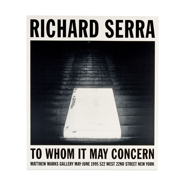 Richard Serra: To Whom It May Concern Poster in color
