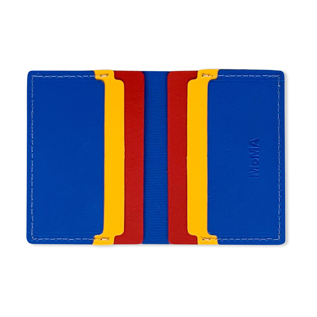 Primary Recycled Leather Wallet in color Blue/ Red