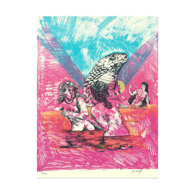 Janice Scull: Bathing with Serpent Poster in color