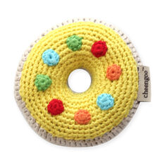 Crocheted Donut Rattle in color Yellow