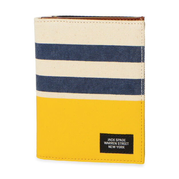 Jack Spade Dipped Passport Wallet - Natural/Navy/Yellow Striped Dipped in color