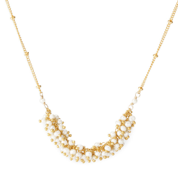 Pearl Fringe and Chain Necklace in color