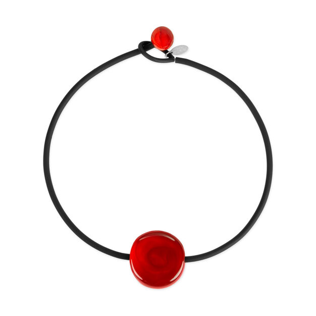 Glass Bonbon Necklace Red/Black in color