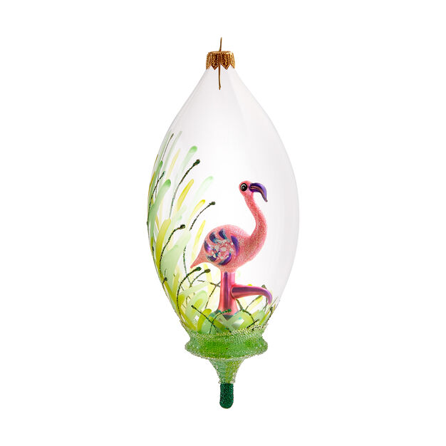 Tropical Flamingo Globe Ornament in color