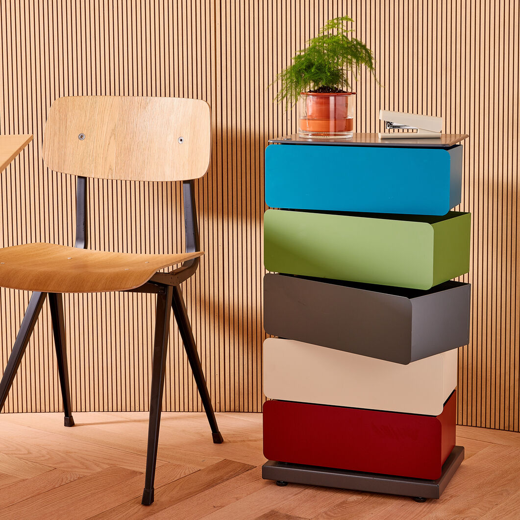 5-Drawer Pivot Cabinet in color Blue/ Gray/ Red