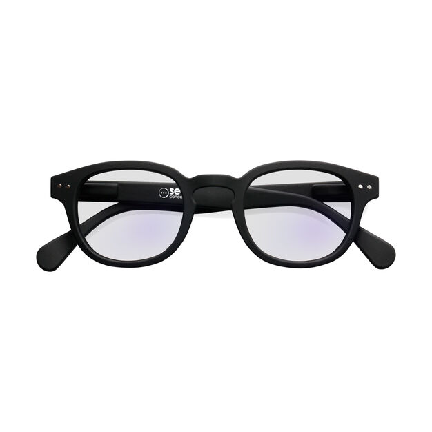 IZIPIZI Rounded-Edge Square Screen Glasses #C in color Black