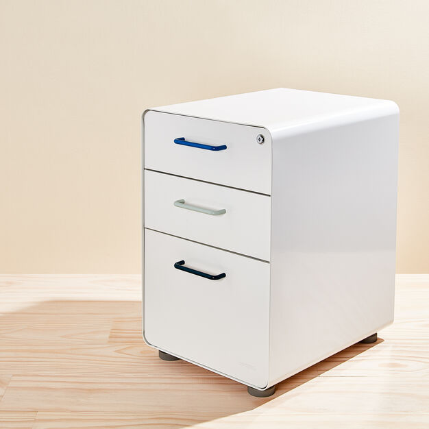 Poppin Stow 3-Drawer File Cabinet in color Blue/ Multi
