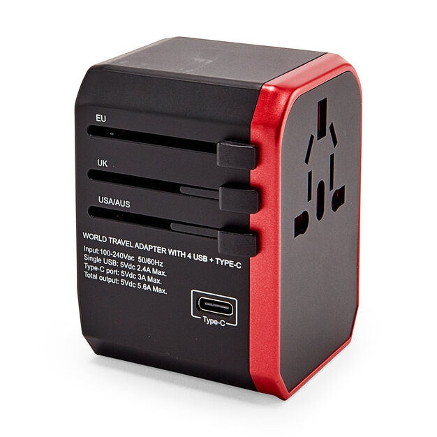 World Travel Adapter With USB-C in color