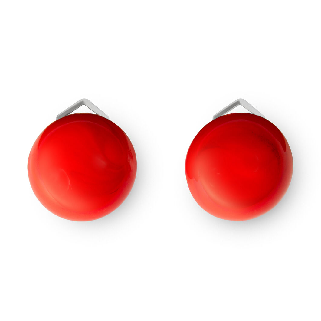 Glass Lobo Clip Earrings Red in color