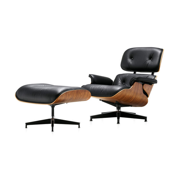 Eames® Lounge Chair and Ottoman in color Black/  Walnut