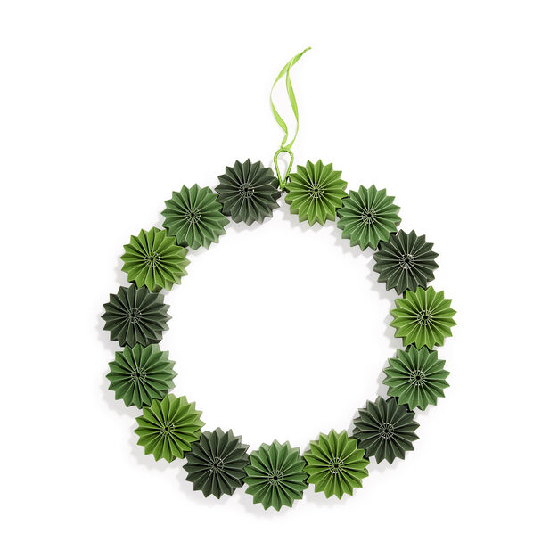 Green Geometric Paper Holiday Wreath in color