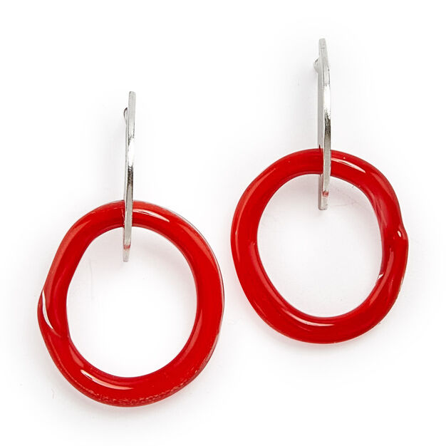 Octave Mini Glass Slice Hoop Earrings in color Red