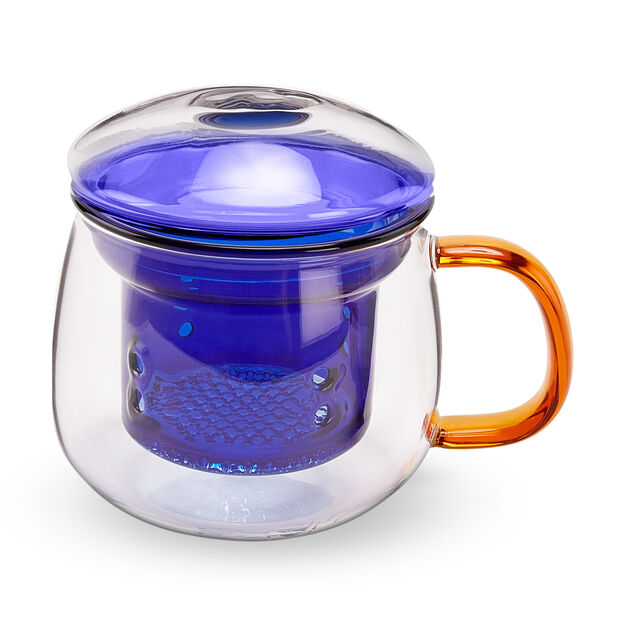 Multicolor Glass Tea Cup in color Blue/ Amber