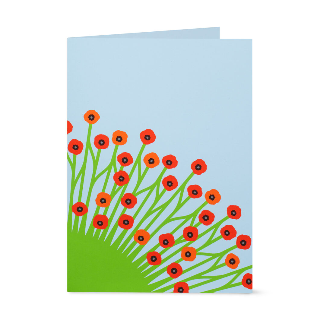 Blooming Poppies Pop-Up Note Card in color
