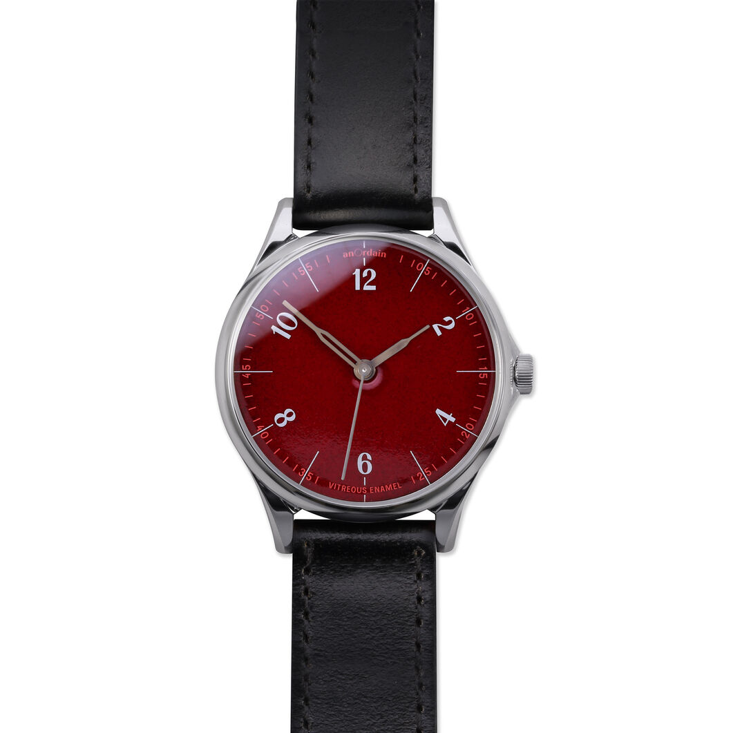 anOrdain Model 1 Watch - Post Office Red Dial in color Black Shell