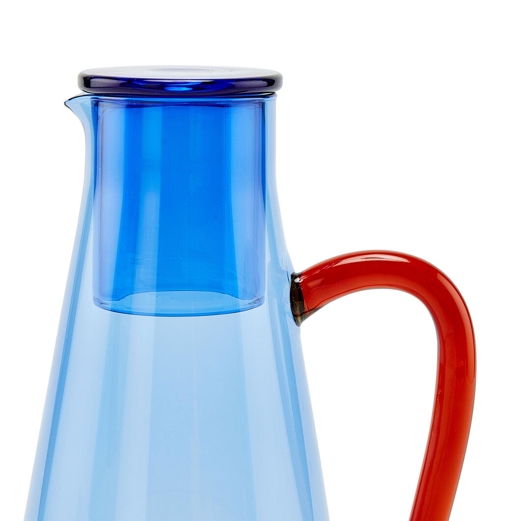 Two-Tone Glass Carafe in color Blue/ Red