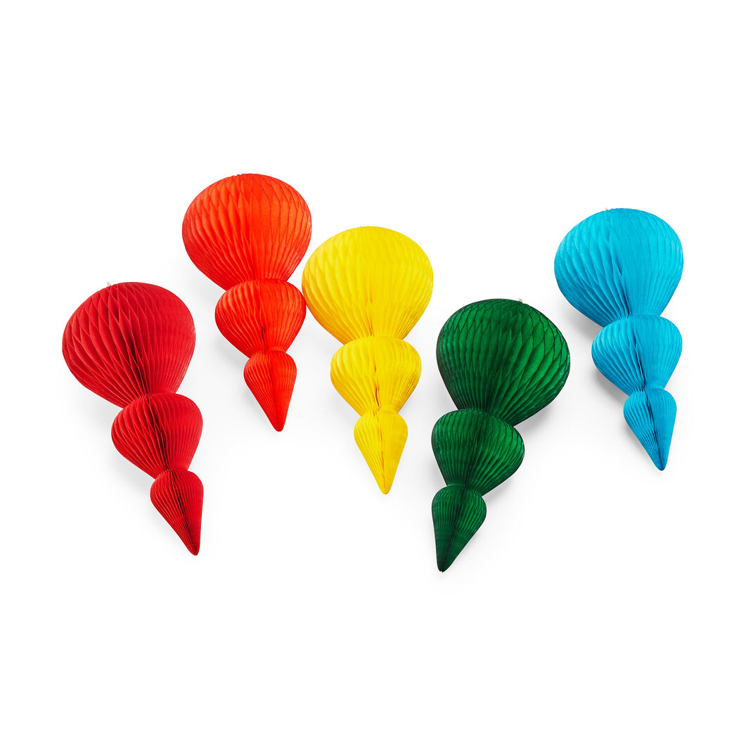 Honeycomb Finial Large Holiday Ornament Set in color