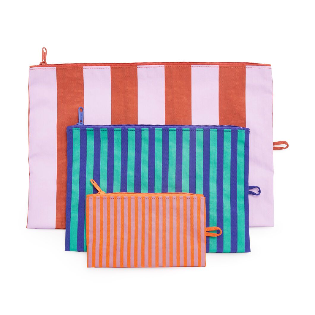 Baggu Striped Flat Pouch - Set of 3 in color