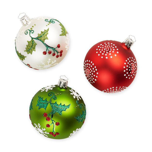 Festive Holly Ornament Set in color
